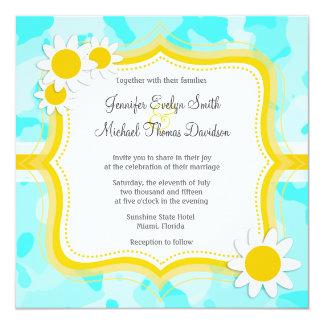 Daisy on Celeste Camo; Camouflage 5.25x5.25 Square Paper Invitation Card
