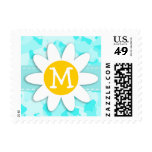 Daisy on Celeste Camo; Camouflage Postage Stamp