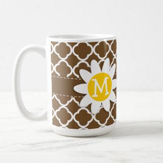 Daisy on Chocolate Brown Quatrefoil Coffee Mugs