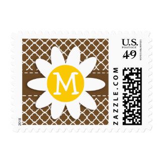 Daisy on Chocolate Brown Quatrefoil Postage Stamp