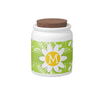 Daisy on Citron Green Paisley; Floral Candy Jar
