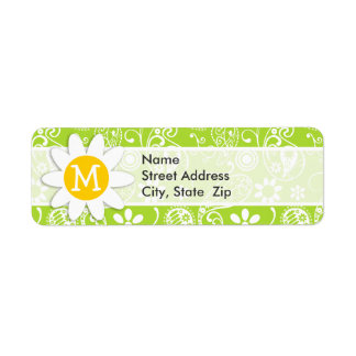 Daisy on Citron Green Paisley; Floral Return Address Labels