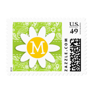 Daisy on Citron Green Paisley; Floral Stamp