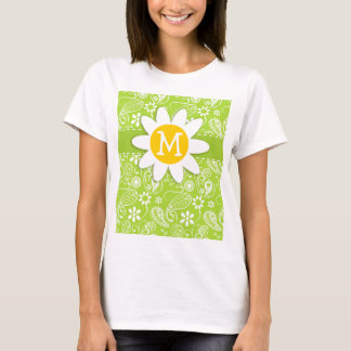 Daisy on Citron Green Paisley; Floral T-Shirt