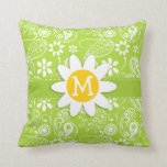 Daisy on Citron Green Paisley; Floral Throw Pillow