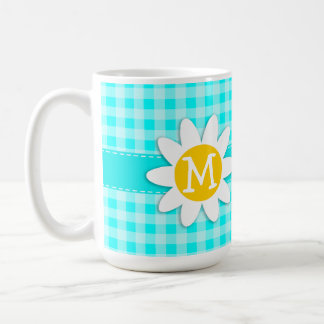Daisy on Cyan Gingham; Checkered Coffee Mug