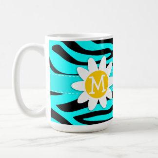 Daisy on Cyan Zebra Stripes Animal Print Coffee Mugs