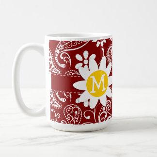 Daisy on Dark Red Paisley; Floral Mug