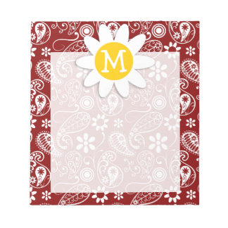 Daisy on Dark Red Paisley; Floral Notepad