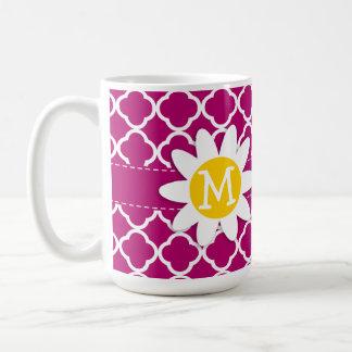 Daisy on Deep Cerise Quatrefoil Coffee Mugs