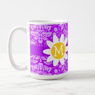 Daisy on Electric Purple Damask Mugs