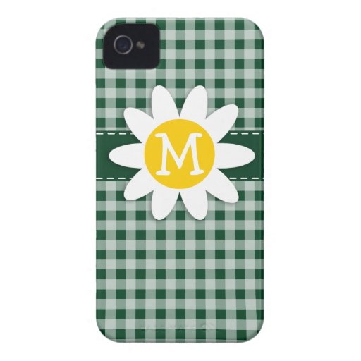 Daisy on Forest Green Gingham iPhone 4 Case-Mate Cases