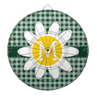 Daisy on Forest Green Gingham Dart Board