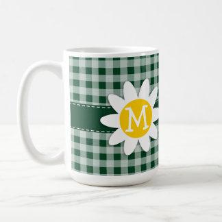 Daisy on Forest Green Gingham Coffee Mug