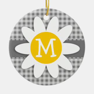 Daisy on Gray Gingham Ceramic Ornament