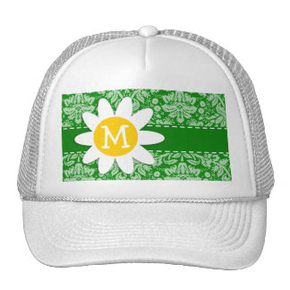 Daisy on Green Damask Trucker Hat