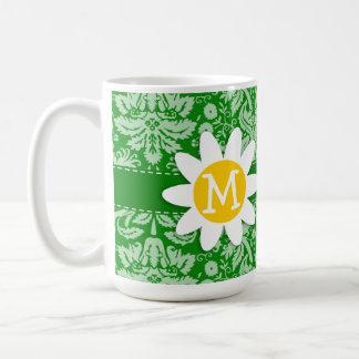 Daisy on Green Damask Coffee Mug