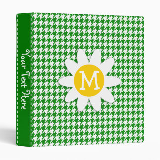Daisy on Green Houndstooth 3 Ring Binder