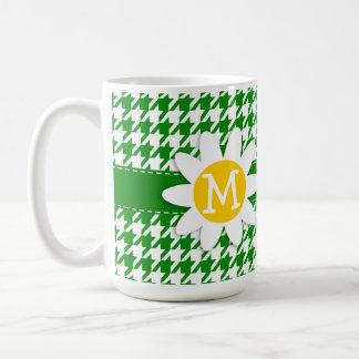 Daisy on Green Houndstooth Mugs