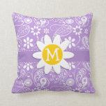 Daisy on Lavender, Light Purple Paisley Pattern Throw Pillows
