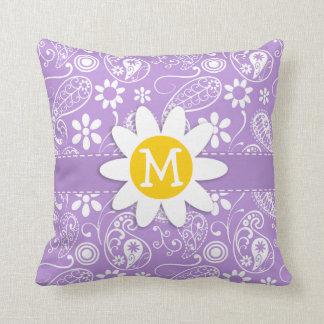 Daisy on Lavender, Light Purple Paisley Pattern Pillow