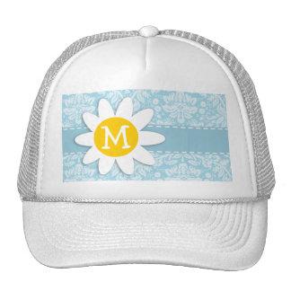 Daisy on Light Blue Damask Trucker Hat