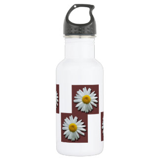 Daisy on Pink Background; No Text Stainless Steel Water Bottle