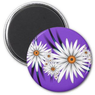 Daisy on Purple 2 Inch Round Magnet