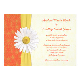 Daisy Orange, Yellow, Ivory Wedding Invitation