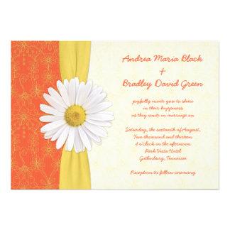 Daisy Orange Yellow Ivory Wedding Invitation
