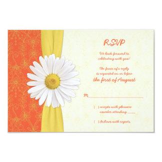 Daisy Orange, Yellow, Ivory Wedding Reply Card