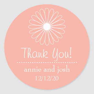 Daisy Outline Thank You Labels (Peach) Classic Round Sticker