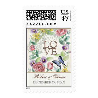 Daisy Pansy Rose n Butterfly, Wedding Love Postage