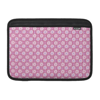 Daisy Pattern on Pink Stripes MacBook Sleeves