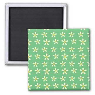 Daisy Pattern Yellow & White Daisies on Green Refrigerator Magnets