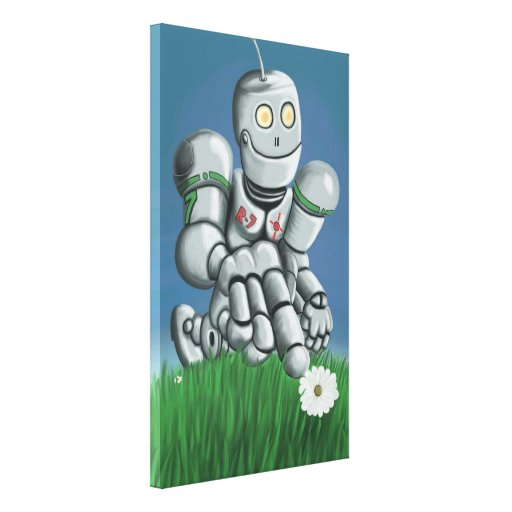Daisy Picking Robot Stretched Canvas Print