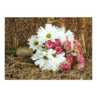 "Daisy & Pink Bouquet & Hay - Country Barn Wedding 5"" X 7"" Invitation Card"