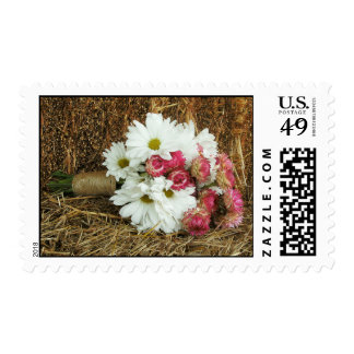 Daisy & Pink Bouquet On a Bale Of Hay Stamps