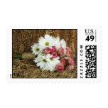 Daisy & Pink Bouquet On a Bale Of Hay Postage Stamp