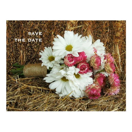 Daisy & Pink Bouquet on Hay Wedding Save The Date Postcard