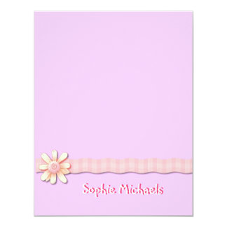 Daisy Pink Ribbon Personalized Thank You/Notecard 4.25x5.5 Paper Invitation Card
