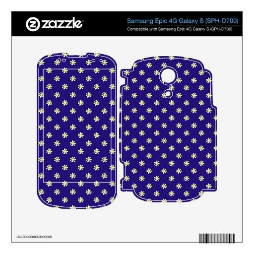 Daisy Polka Dot on a Dark Blue Background Skins For Samsung Epic