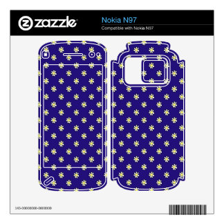 Daisy Polka Dot on a Dark Blue Background Decal For Nokia N97