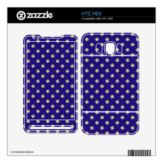 Daisy Polka Dot on a Dark Blue Background Decal For The HTC HD2