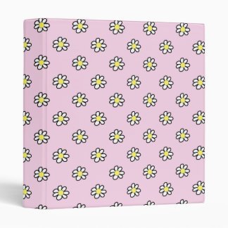 Daisy Polka Dot on a Pink Background 3 Ring Binder