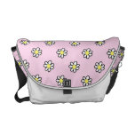 Daisy Polka Dot on a Pink Background Commuter Bags