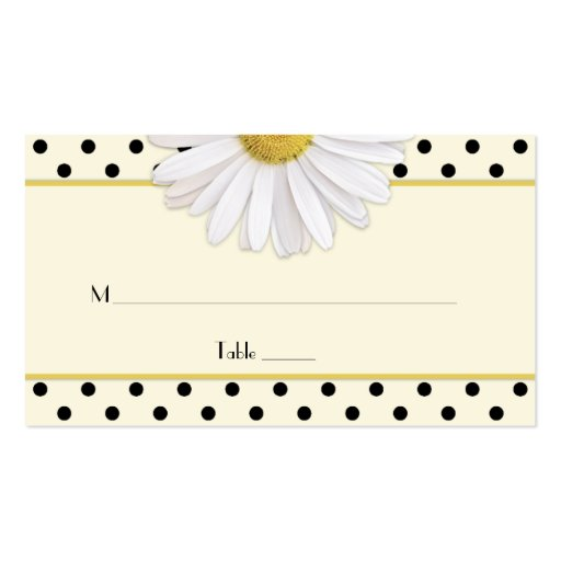 Daisy Polka Dots Wedding Place Cards Business Card Template