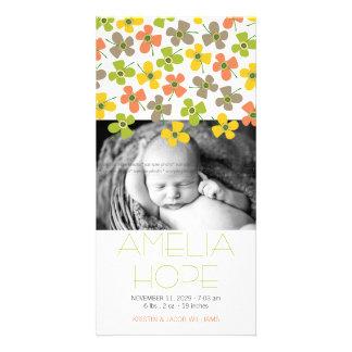 Daisy Pop Lime Peach Baby Announcement Photo Card