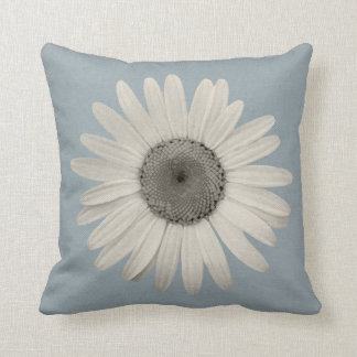 Daisy Pop of Color Blue Grey Throw Pillow