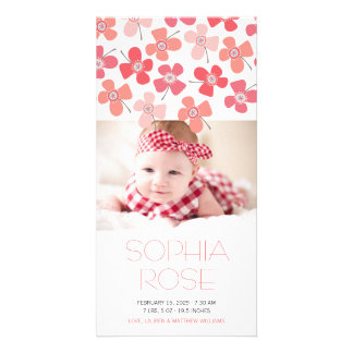 Daisy Pop Red Baby Girl Announcement Photo Card